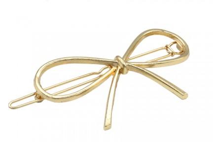 Grand barrette cheveux noeud doré en métal or