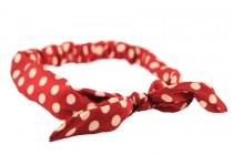 Bandeau serre tête rouge élastique à pois blanc pin up glamour