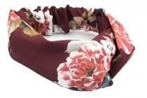 Bandeau pour cheveux motif ethnique bordeaux à fleurs
