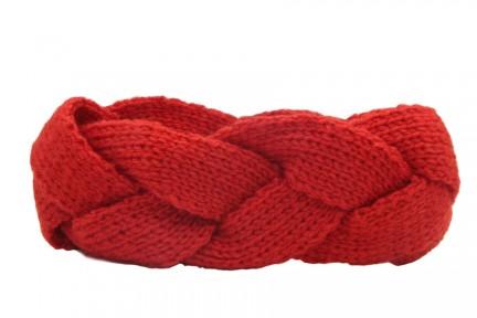Bandeau cheveux rouge laine