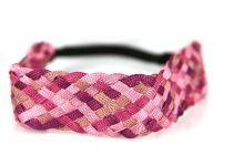 Bandeau pour cheveux courts tressé et coloré rose