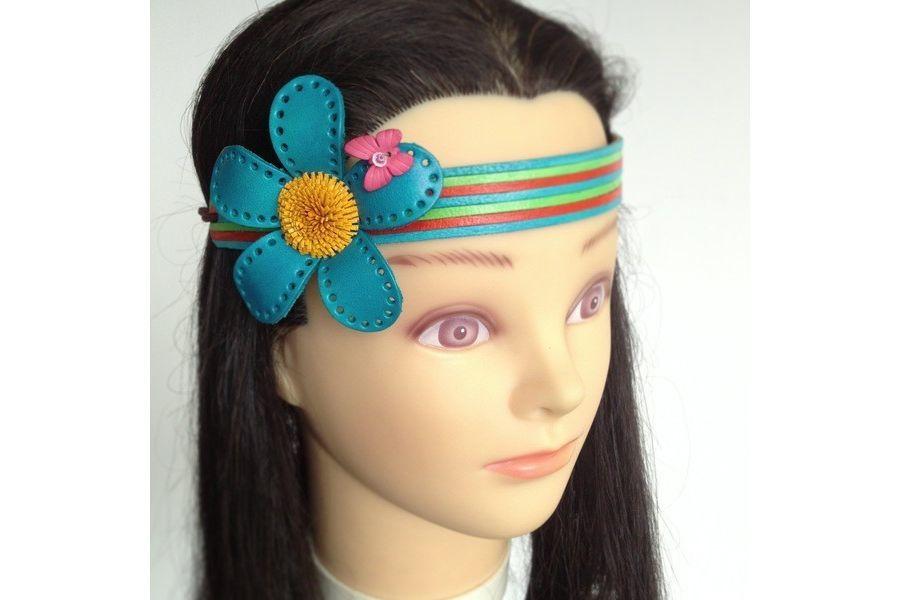 bandeau cheveux bleu libellule turquoise pour fillette et petite fille
