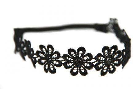 Headband fleurs charbon