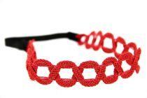 Headband rouge fleuri et corail en tissu glamour