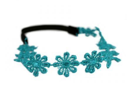Headband fleurs turquoise