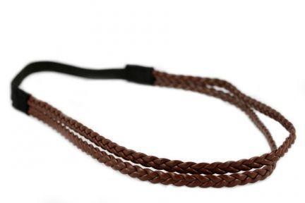 Headband double tresse châtain
