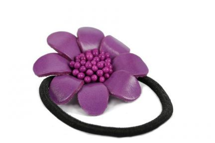 Élastique cheveux fantaisie, fleurs et nœud