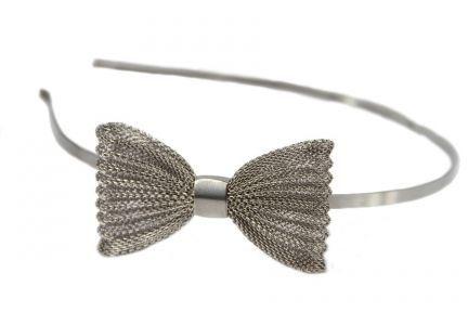 Serre tête nœud papillon argent