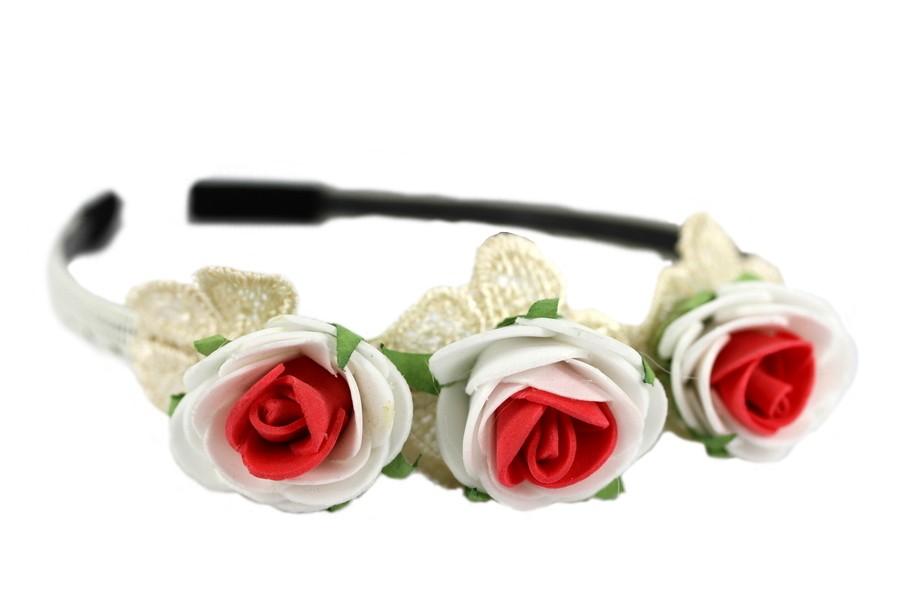 serre-Tête Couronne de fleurs blanche et rouge
