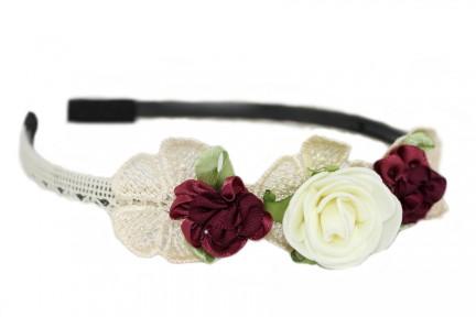 Serre tête fleurs noirs, écru et bordeaux