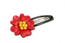 Barrette cheveux fleur rouge