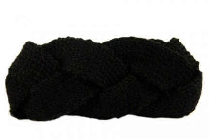 Bandeau cheveux torsadé laine noire