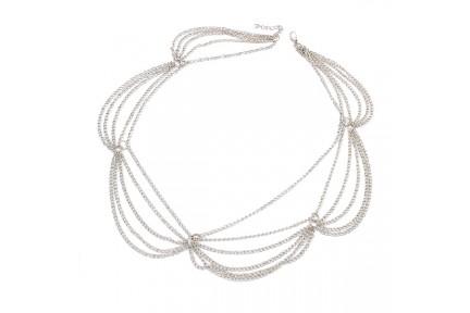 Bandeau chaîne cheveux en métal argent