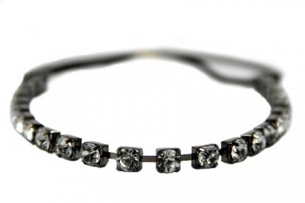 Headband bijou strass noir et argenté