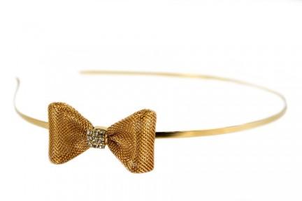 Serre tête nœud femme doré