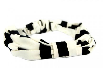 Bandeau cheveux noir et blanc