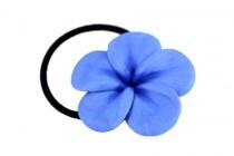 Elastique cheveux fleur bleu