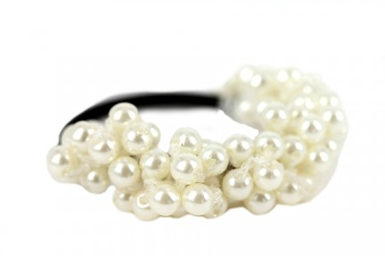 Elastique cheveux perles blanches