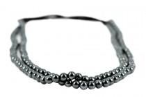 Headband avec perles noire grise