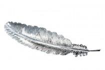 Barrette cheveux feuille argent métallique