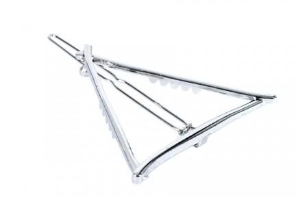 Barrette pince cheveux triangle en métal argent