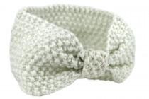 Bandeau en laine Blanc beige et crème