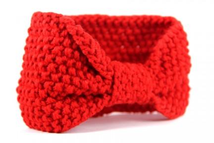 Bandeau en laine rouge et rose pour femme