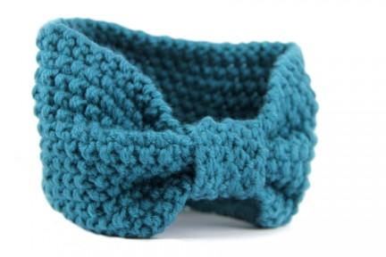 Bandeau en laine en grosse laine effet cache oreille
