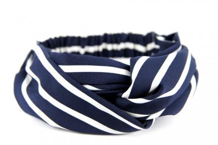 Bandeau croisé pour cheveux rayé blanc et bleu marine