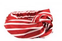 Bandeau stretch pour cheveux élastique rouge et blanc rayé