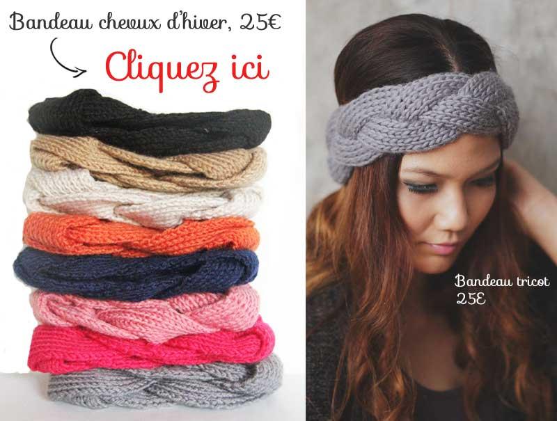 bandeau cheveux laine tricot