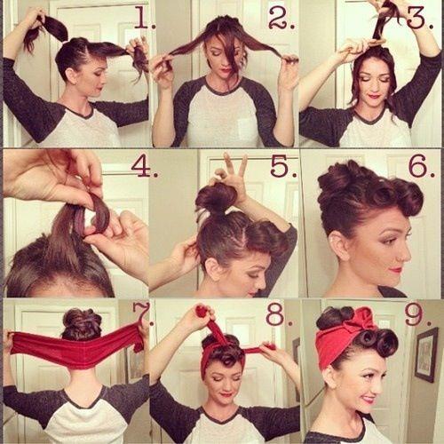 Foulard pin up dans les cheveux