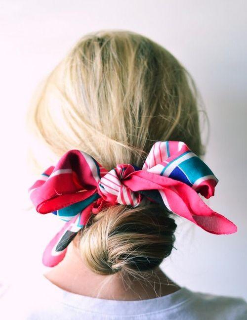 coiffure chignon foulard