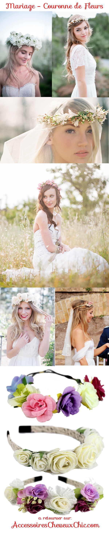 Coiffure de mariage et couronne de fleur
