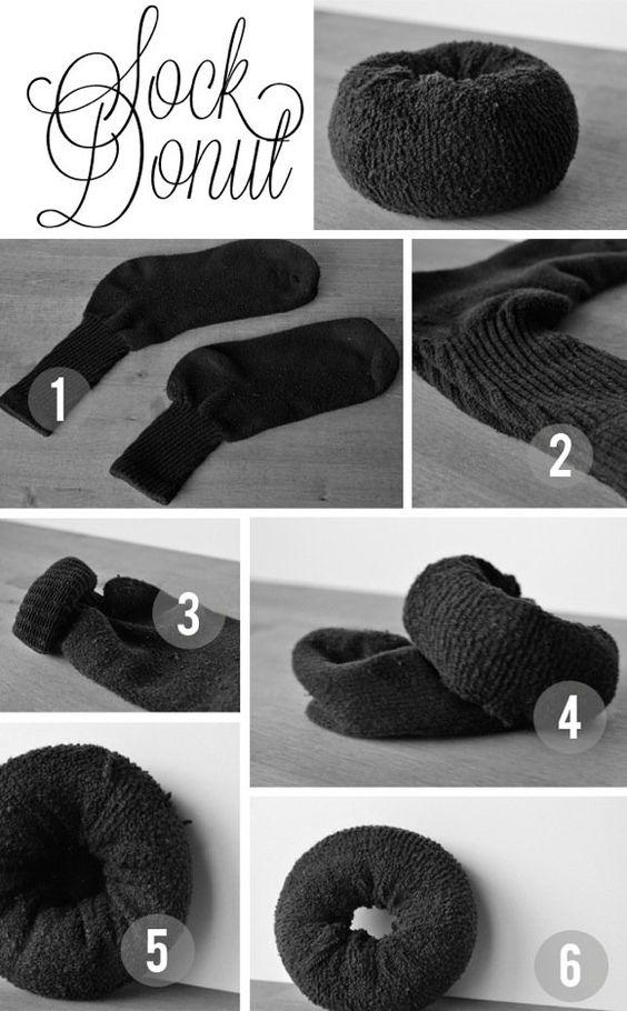 comment faire chignon donut flou avec une chaussette. Black Bedroom Furniture Sets. Home Design Ideas