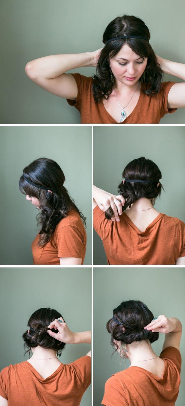 Headband autour du chignon - Chignon avec headband ...