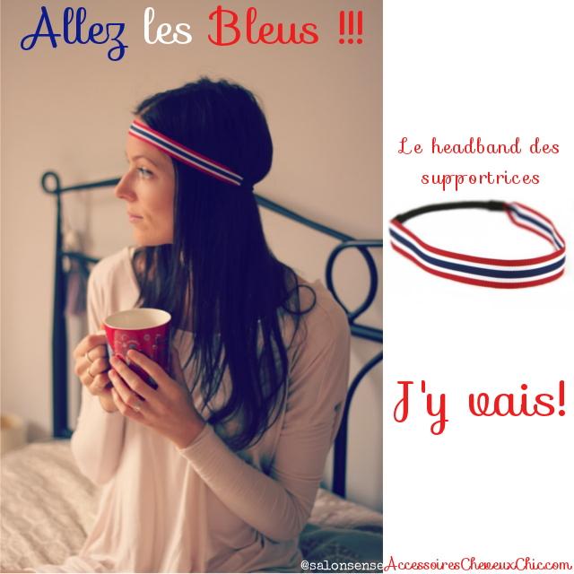 Le headband cheveux bleu blanc rouge des supportrices de l'équipe de france