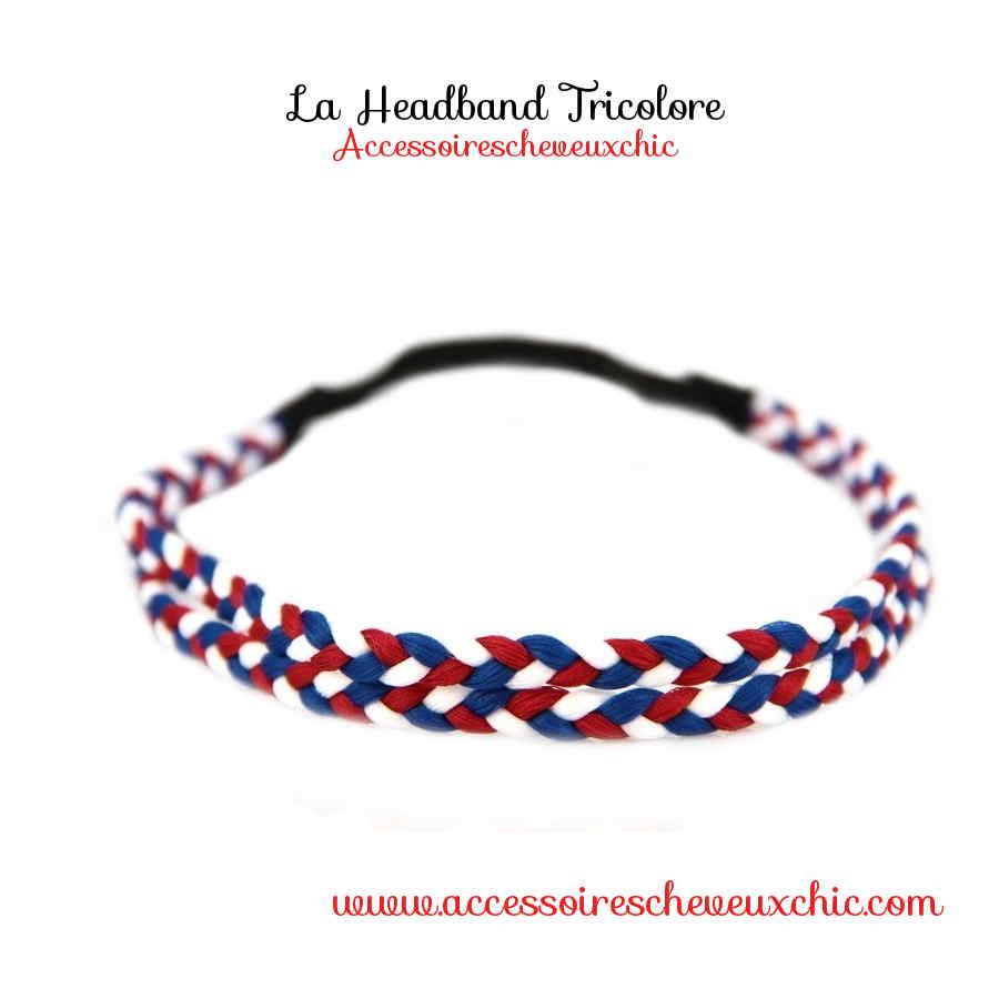headband tresse- heveux bleu blanc rouge