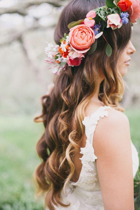 idee coiffure mariage couronne fleurs
