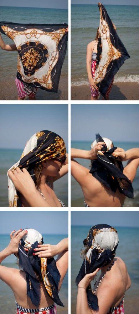 foulard cheveux plage