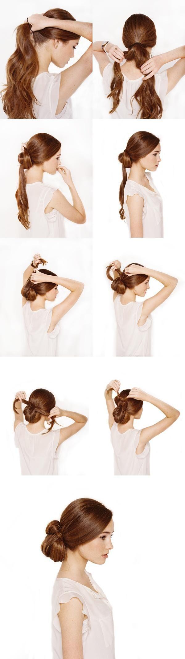 tuto coiffure chignon noeud