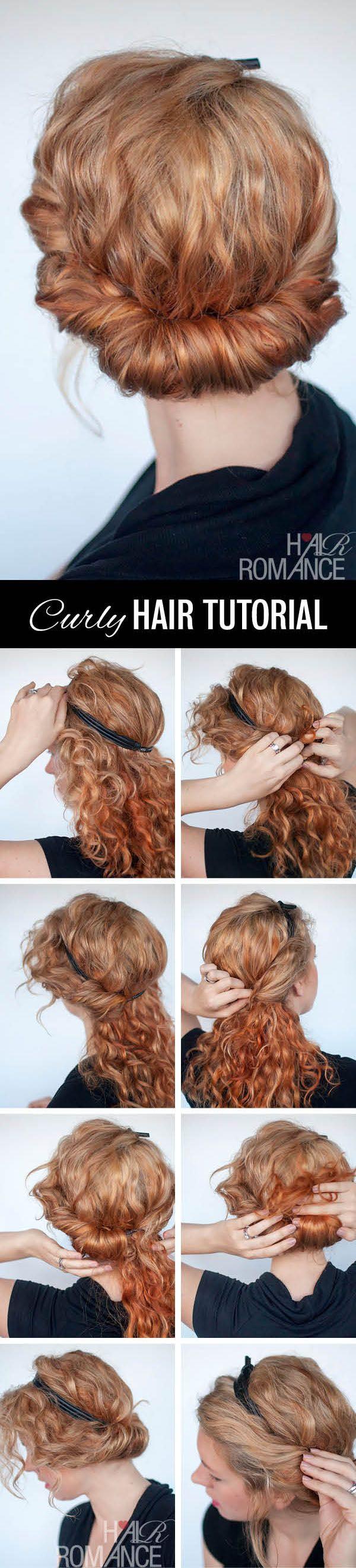 tuto coiffure headband cheveux boucles