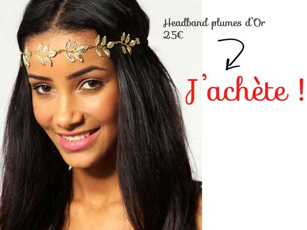 Headband feuilles dorees