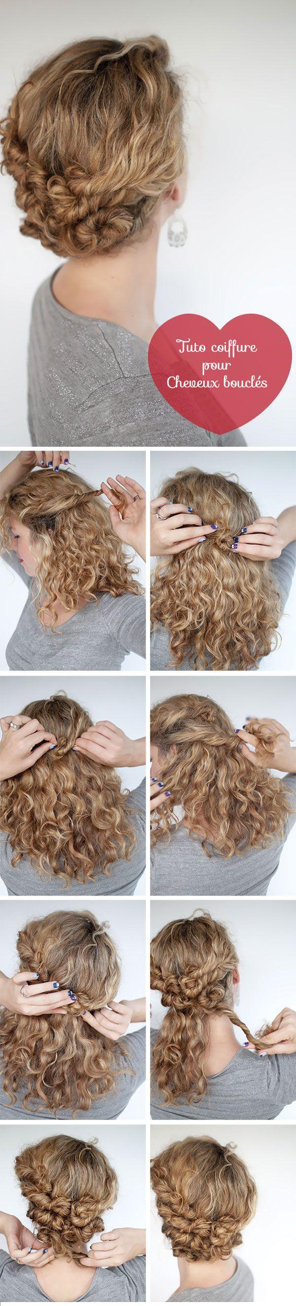 coiffure femme cheveux boucles frises tuto