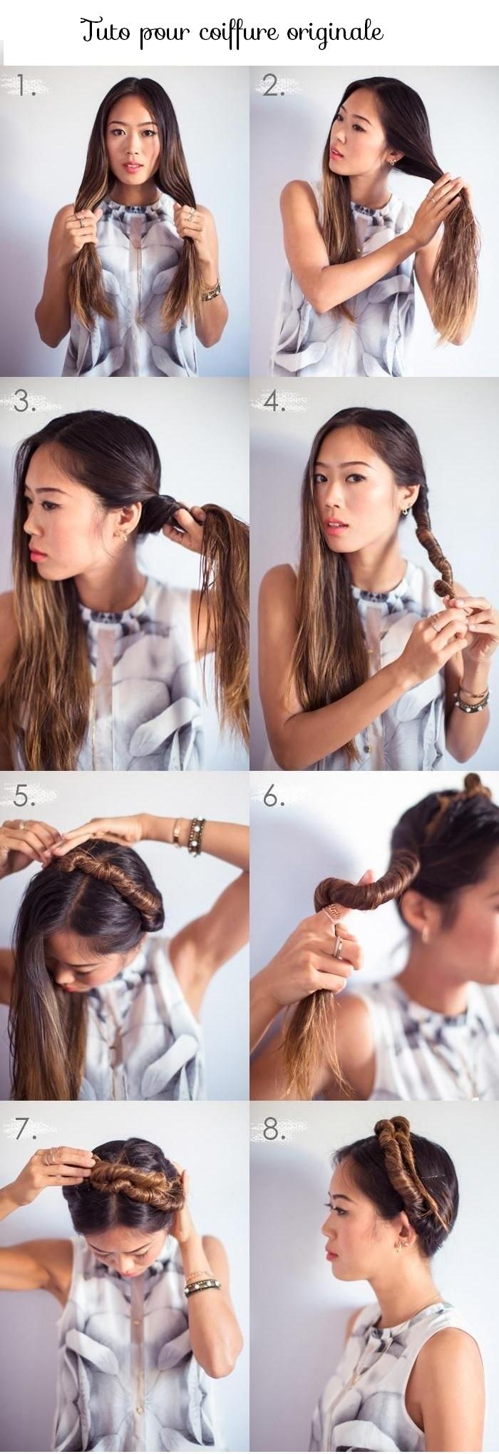 tuto coiffure femme cheveux longs