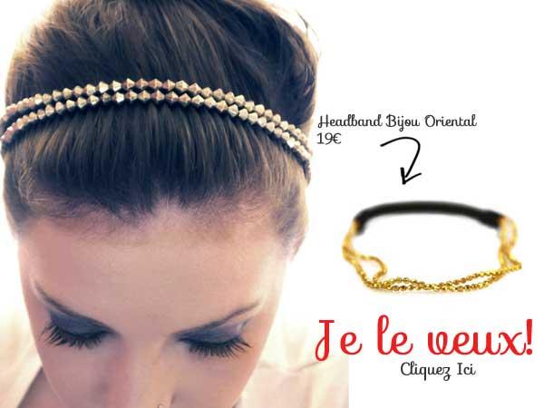 acheter headband chaine dore