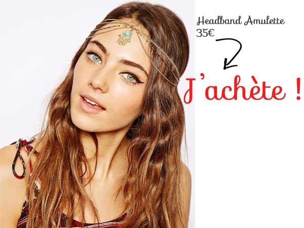Headband double metal dore pendentif