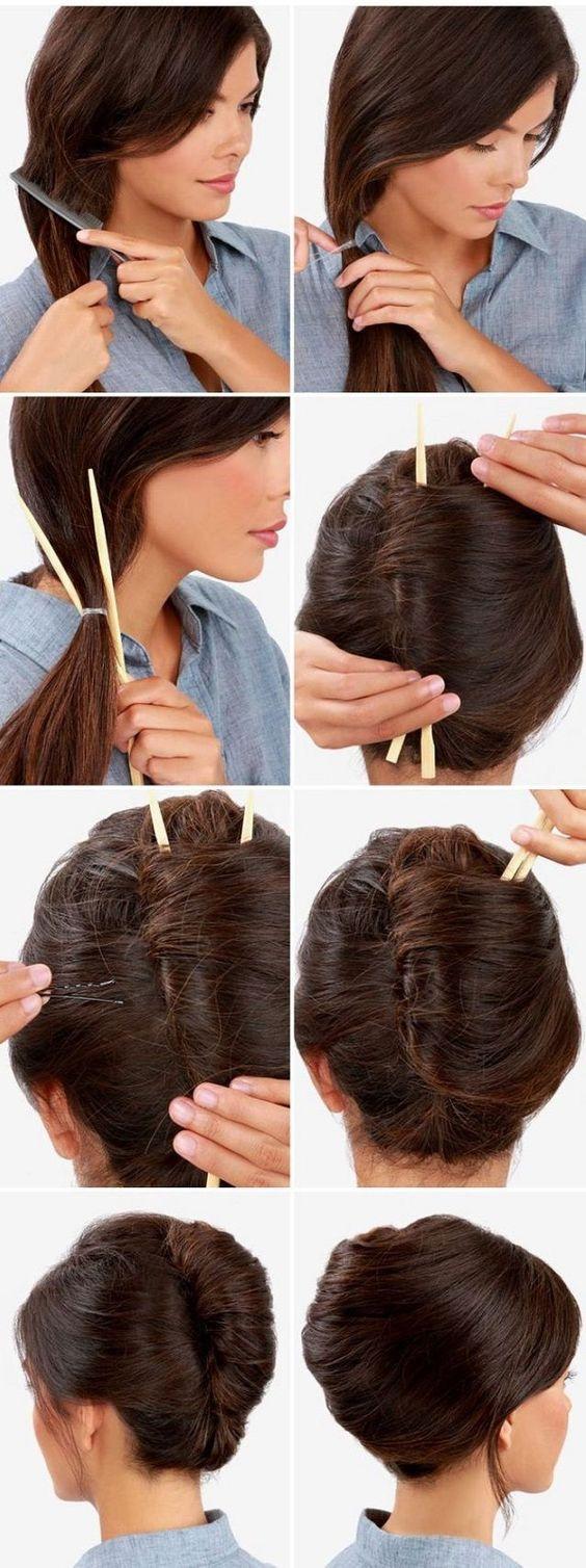 Id e coiffure tresse avec baguettes chinoises - Comment tenir des baguettes chinoises ...