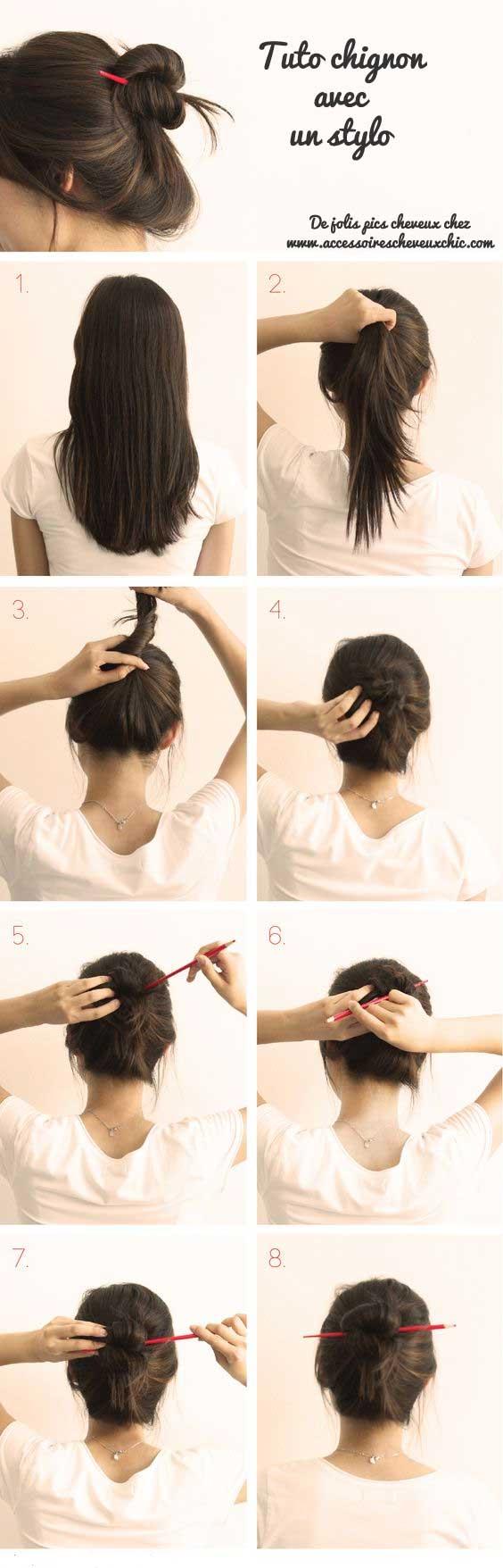 comment-attacher-cheveux-avec-stylo